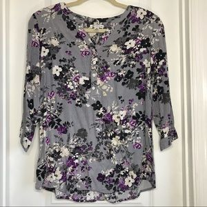 🛍2/$20! Croft & Barrow floral v neck blouse